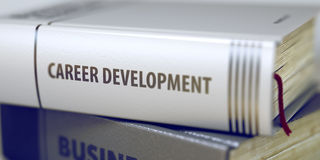 Career Development - Book Title. 3D. Stack of Books Closeup and one with Title - Career Development. Book in the Pile with the Title on the Spine Career Royalty Free Stock Image