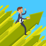 Career Development Design Concept. With smiling businessman on green growing arrow on blue background vector illustration Royalty Free Stock Photography