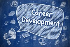 Career Development - Doodle Illustration on Blue Chalkboard. Yelling Loudspeaker with Text Career Development on Speech Bubble. Doodle Illustration. Business Royalty Free Stock Photo