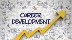 Career Development Drawn on White Brick Wall. Brick Wall with Career Development Inscription and Orange Arrow. Success Concept. Career Development Drawn on Royalty Free Stock Images