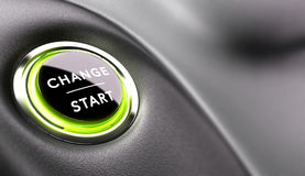 Career Development. Finger about to press a change button. Concept of career development or changing life Stock Photos