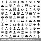 100 career development icons set, simple style Royalty Free Stock Photos