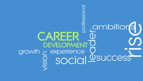 Career development motivational introduction animation video. Moving text animation with keywords related to career