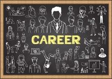 Career doodles on chalkboard. Stock Photos