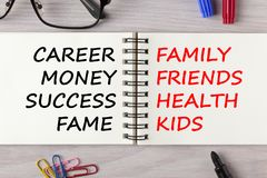 Career Or Family Concept. Career Or Family written in notebook on wooden desk with marker pen and glasses. Dilemma of life concept Stock Images