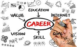 Career flowchart hand drawing on whiteboard Royalty Free Stock Photo