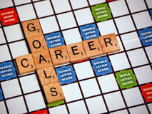 Career Goals. A game of scrabble with words career and goals royalty free stock images