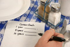 Career Goals on a napkin Royalty Free Stock Images