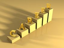 Career gold shiny ladder. On a gold surface Royalty Free Stock Photos
