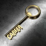 Career - Golden Key on Black Metallic Background. 3D Rendering Stock Photo