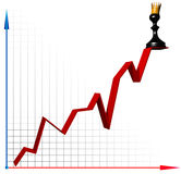Career growth. The pawn in crown on the top of diagram stock illustration