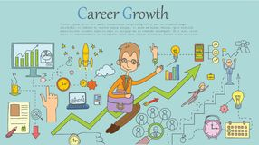 Career growth banner templates. Doodle line design of web banner templates with outline icons of career growth.Vector illustration concept for website or Royalty Free Stock Photography