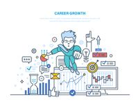 Career growth. Achievement high goals, success in business and growth. Career growth. Businessman going up on career stairs, personal development, superhero Stock Photography
