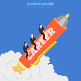 Career growth businessmen flat 3d isometric vector Royalty Free Stock Photo