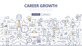 Career Growth Doodle Concept. Doodle design style concept of career growth, selecting best candidates, career ladder, corporate opportunities, human resource