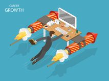 Career growth flat isometric vector concept. A man is flying fast holding on his office desk with fireworks rockets Royalty Free Stock Photos