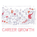 Career Growth Process Elements Creative Sketch Infographic Stock Photos