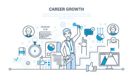 Career growth, progress in education, self-improvement, gain experience, personal qualities. Royalty Free Stock Image