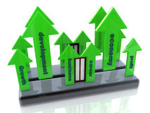 Career growth. At registration information associated with the business and skills Stock Photos