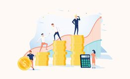 Career growth to success. Business people. Vector illustration. Achievement concept. Financial wealth and work promotion. Teamwork process with graph progress vector illustration
