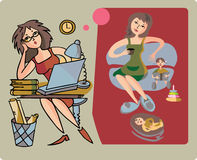 Career and household. Illustration of woman emancipation theme Royalty Free Stock Photos