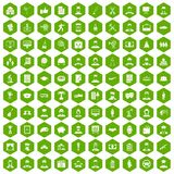 100 career icons hexagon green. 100 career icons set in green hexagon isolated vector illustration Royalty Free Stock Photo