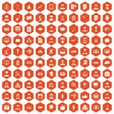100 career icons hexagon orange. 100 career icons set in orange hexagon isolated vector illustration Stock Images