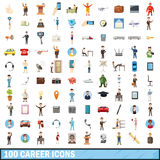 100 career icons set, cartoon style. 100 career icons set in cartoon style for any design vector illustration Stock Photography