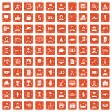 100 career icons set grunge orange. 100 career icons set in grunge style orange color isolated on white background vector illustration Royalty Free Stock Image