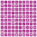 100 career icons set grunge pink. 100 career icons set in grunge style pink color isolated on white background vector illustration Royalty Free Stock Photos