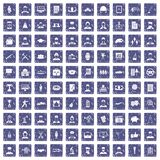 100 career icons set grunge sapphire. 100 career icons set in grunge style sapphire color isolated on white background vector illustration royalty free illustration