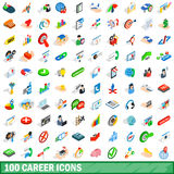 100 career icons set, isometric 3d style. 100 career icons set in isometric 3d style for any design vector illustration Stock Photos