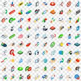 100 career icons set, isometric 3d style Stock Photos