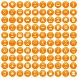 100 career icons set orange. 100 career icons set in orange circle isolated on white vector illustration stock illustration