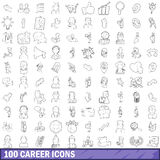 100 career icons set, outline style Stock Photos