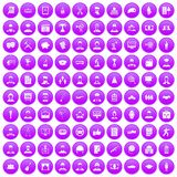 100 career icons set purple. 100 career icons set in purple circle isolated on white vector illustration stock illustration