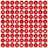 100 career icons set red. 100 career icons set in red circle isolated on white vector illustration stock illustration