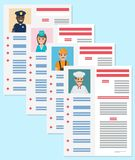 Career information leaflet flat vector concept. Career information leaflet flat vector. Job resume pages with applicant portrait and personal data. Curriculum Stock Image