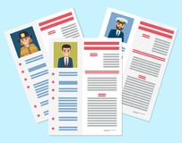 Career information leaflet flat vector concept. Career information leaflet flat vector. Job resumes pages with applicant portrait and personal data. Curriculum Royalty Free Stock Image