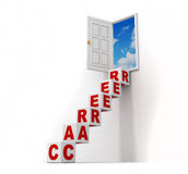 Career ladder of blocks to the opened door to sky Stock Images