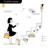 Career ladder. Business woman walking on the career ladder. Vect Stock Photography