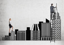 Career ladder. Businesswoman climbing black stairs in shape of New York buildings up to Empire State Building, businessman on ladder. Concrete background Stock Photo
