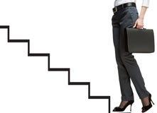 Career ladder. Businesswoman starting career, ladder of success concept, white background Stock Image