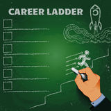Career ladder chalk on a blackboard business concept Stock Images