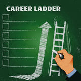 Career ladder chalk on a blackboard business concept Stock Image