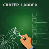 Career ladder chalk on a blackboard business concept Royalty Free Stock Image