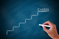 Career with ladder on chalkboard. With chalk in hand Royalty Free Stock Photo