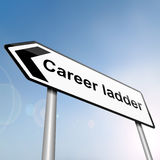 Career ladder concept. Illustration depicting a sign post with directional arrow containing a career ladder concept. Blurred background Royalty Free Stock Photo