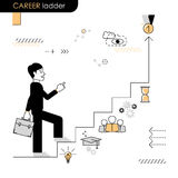 Career ladder. Concept move up the career ladder. Stages of tran. Sition to another stage. Vector flat line on a white background Stock Photos