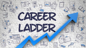 Career Ladder Drawn on Brick Wall. Stock Images
